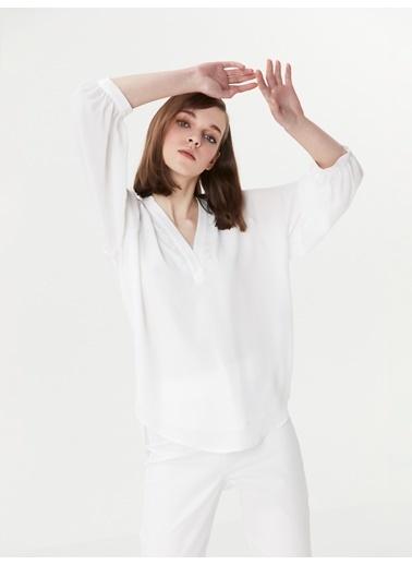 Ipekyol Güpür Şeritli Truvakar Kol Bluz Beyaz
